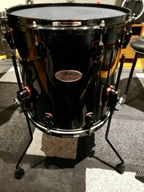 Rear Pearl Reference Redline Series Floor Tom Jet Black 14 X 14