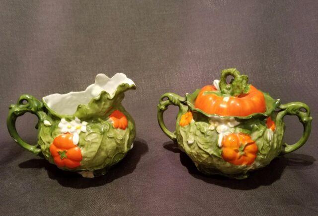 Ernst Wahliss ULTRA RARE Austria Tomato Porcelain Bohemian Majolica Cream Sugar