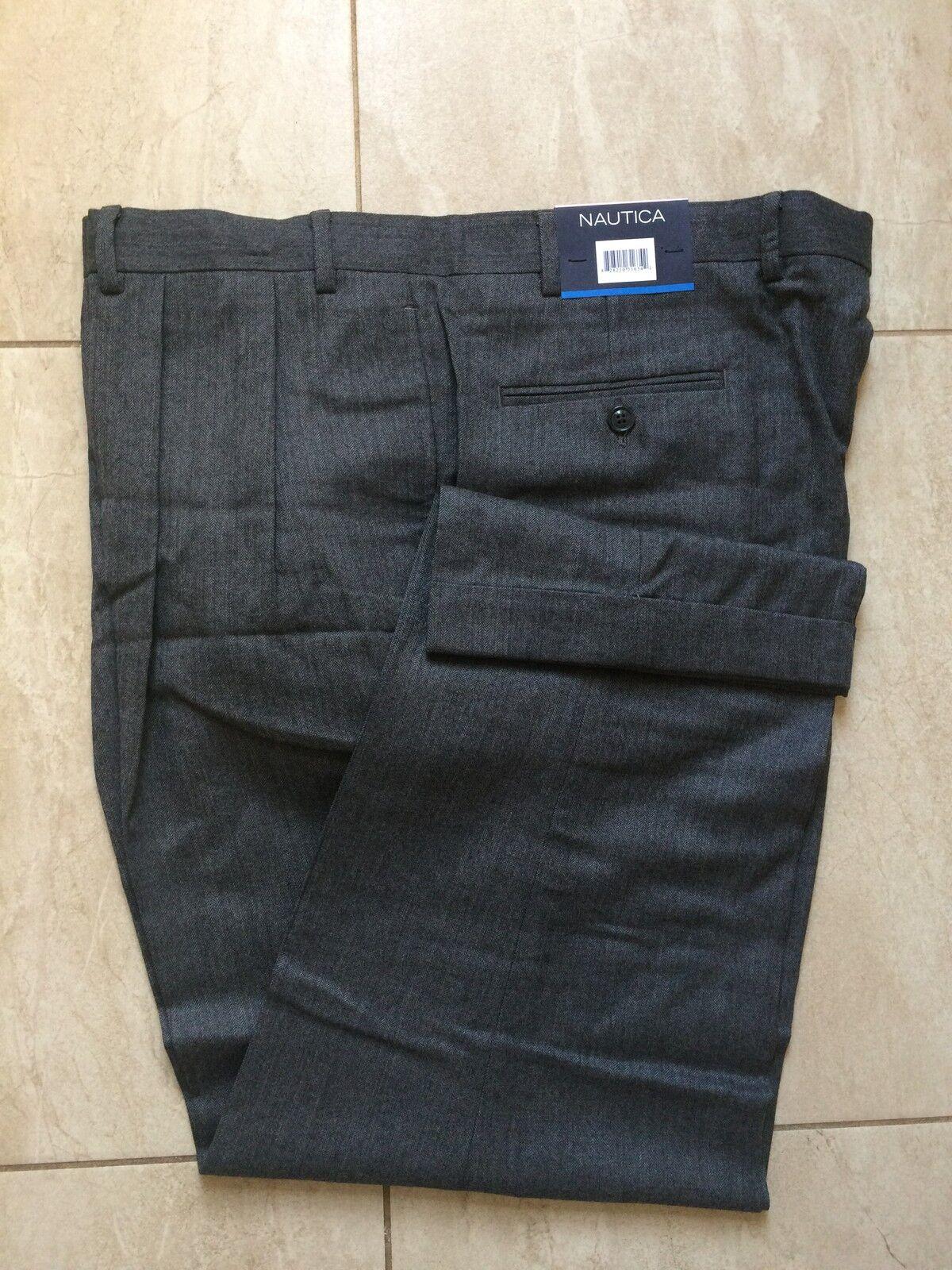 Brand New Nautica Men Pleated Pants - 100% Wool - Grey - 40W  30L