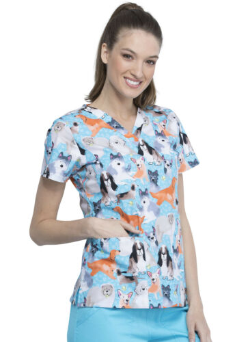 Doggo Lingo Cherokee Scrubs Genuine V Neck Top CK616 DGLG