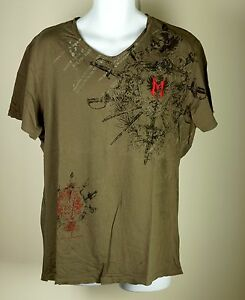 Men-039-s-Monarchy-Los-Angeles-Embroidered-Brown-Lost-Angels-Patch-T-Shirt-XXL-NWOT