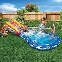 Water Slide Pool W Surf Theme Ramp Splash Sprinkler Toy Wave Inflatable Kids