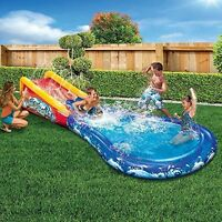 Water Slide Pool W Surf Theme Ramp Splash Sprinkler Toy Wave Inflatable Kids on sale