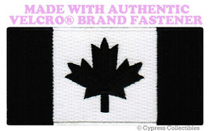 CANADA FLAG EMBROIDERED PATCH CANADIAN BLACK VERSION w// VELCRO® Brand Fastener