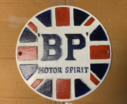 Cast Iron Wall Plaque //sign BP MOTOR SPIRIT Hand Painted