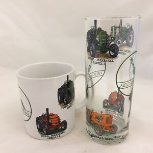 FIELD MARSHALL  MUG AND MATCHING TALL HIGHBALL GLASS WITH 4 DIFFERENT TRACTORS