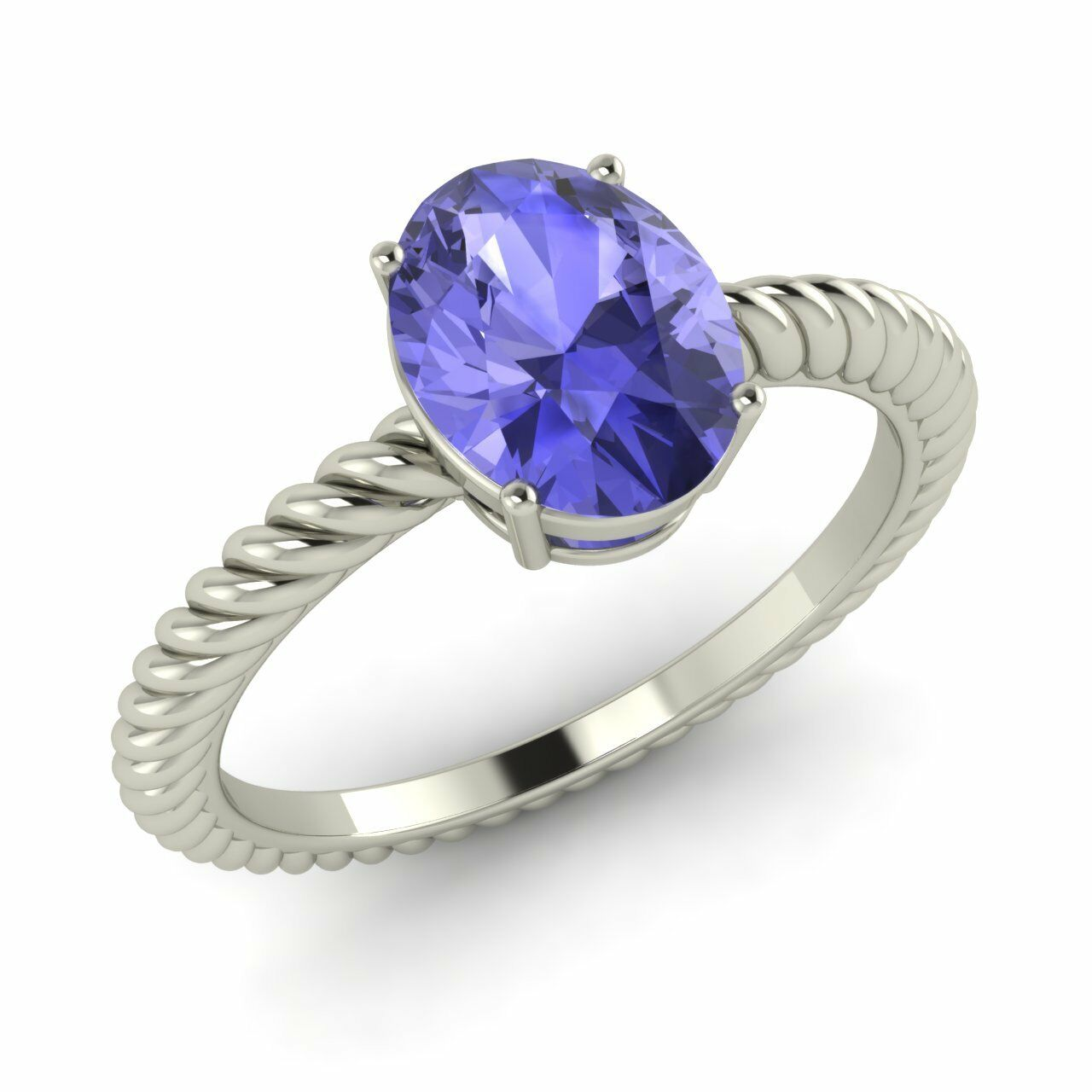 Certified 1.1 Ct Oval Natural Tanzanite Solitaire Engagement Ring 10k White gold