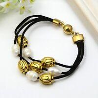 Wholesale Lot 8 Black Suede Gold Tone & Freshwater Pearl Bead Bracelet Magnetic