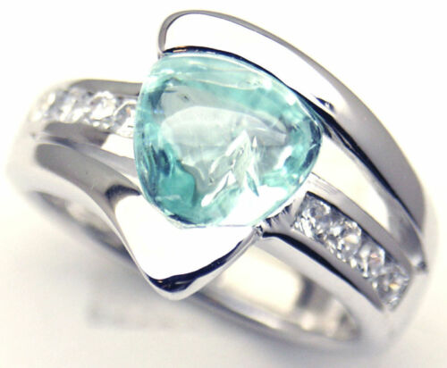 Gorgeous Woman Green Aquamarine Silver Ring S 6.25 #L1