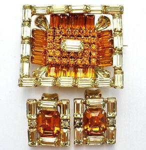 Kramer-Of-New-York-Brooch-Earrings-Set-Amber-Rhinestones-Rectangle-Vintage-Pin