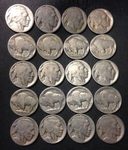 VINTAGE-United-States-Coin-Lot-Buffalo-Nickels-1910s-1930s-FREE-SHIPPING
