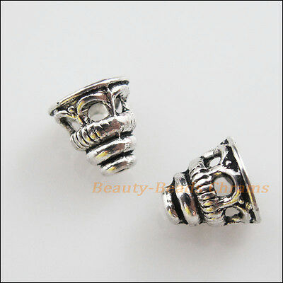 35 New Charms Tibetan Silver Tone Hollow Speaker End Bead Caps 7.5x9mm