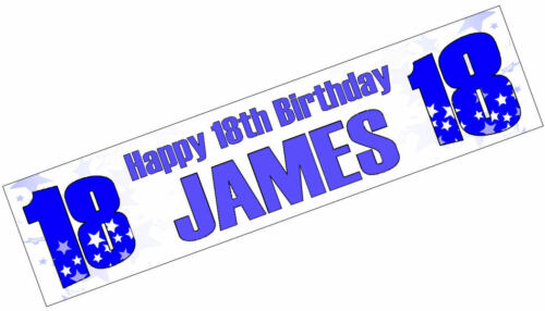 PERSONALISED BANNERS NAME AGE PHOTO BIRTHDAY 16th 18th 21st 30th 40th blue E1