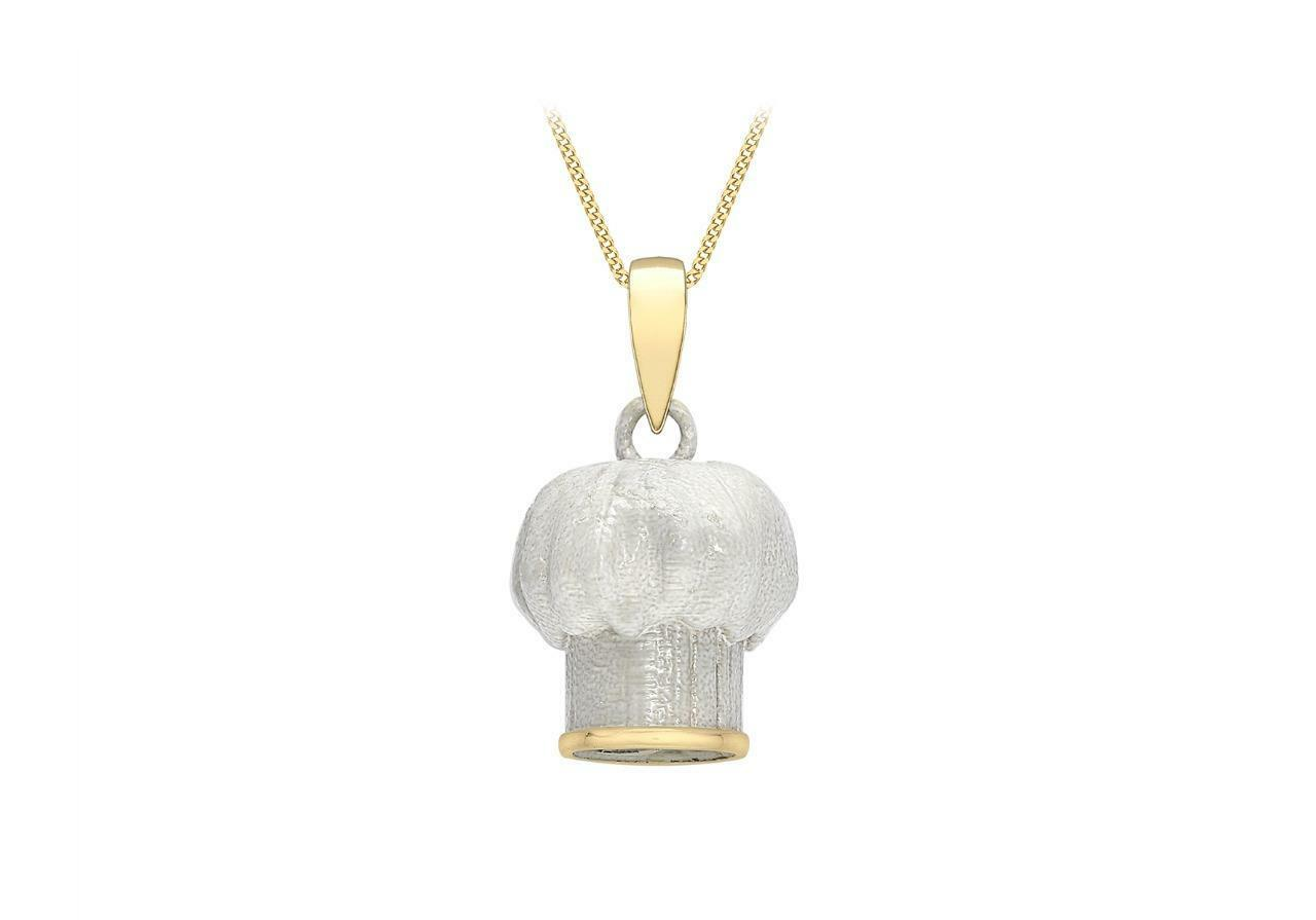 9ct gold White & Yellow Professional Chefs Hat Pendant 10mm Toque whitehe Gift