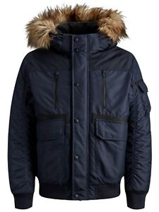 JACK /& JONES Faux Fur Parka Jacket Teddy Fur Lined Warm Hooded Winter Coat Blue