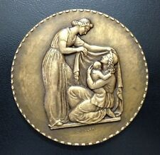 LARGE BRONZE ART- DECO MODERNIST MEDAL BY MULLER, CHARITY MOTHER WITH CHILD M69