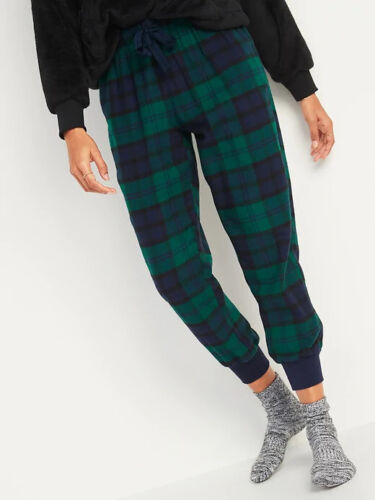 NWT Old Navy Patterned Flannel Jogger Pajama Pants Sleep Lounge Green Plaid XL