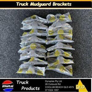 16-x-SILVER-PLASTIC-TRUCK-MUDGUARD-HANGER-BRACKET-SEMI-TRAILER-TRUCKS-4-bolt