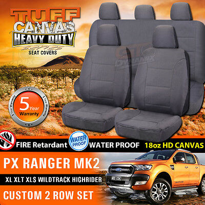 TUFF HD CANVAS FORD PX RANGER MK2 Dual Cab Seat Covers 2ROWs Wildtrack 6/2015-17