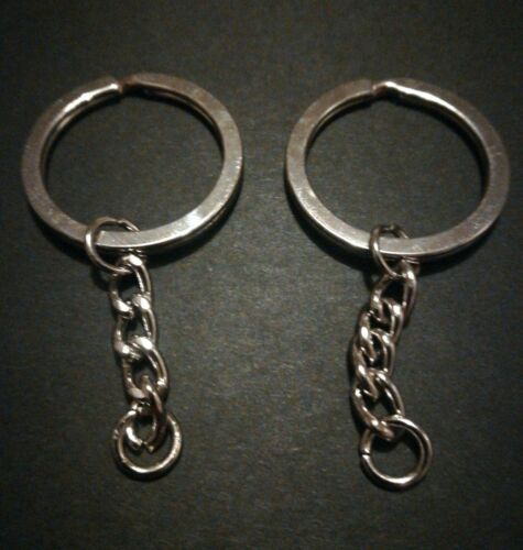 20 x 30mm x 2mm FLAT Split Round Silver Key Rings with Chains Blanks Findings UK