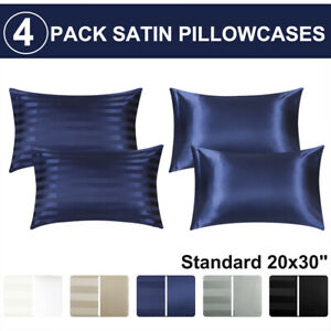 4-piezas-de-suave-saten-funda-de-almohada-mejor-para-el-cabello-y-cara-Estandar-fundas-de-almohada