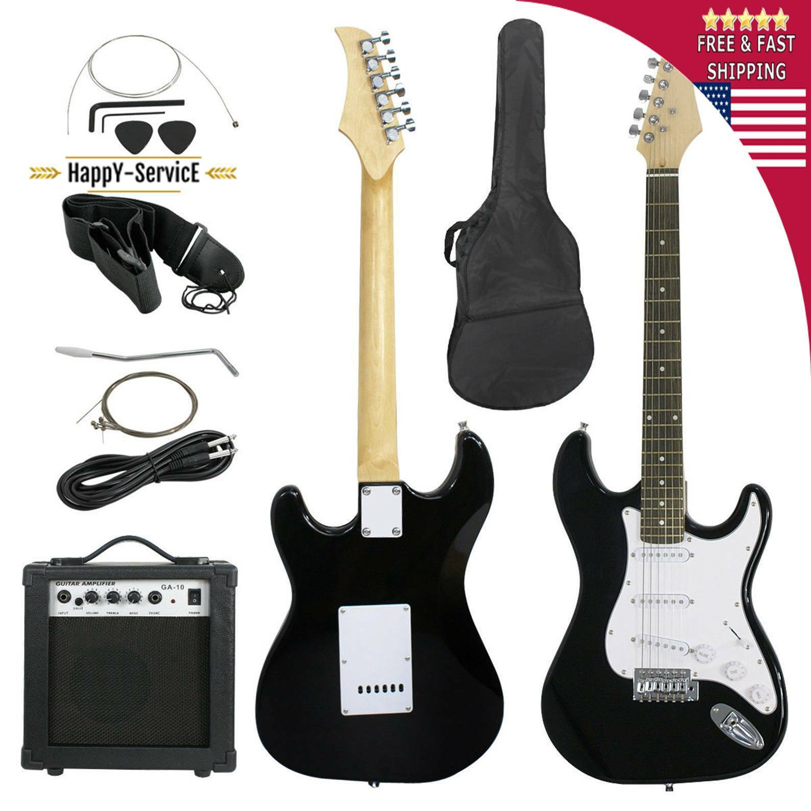 guitar electric black full size new with string case pack cutaway bag beginner ebay. Black Bedroom Furniture Sets. Home Design Ideas