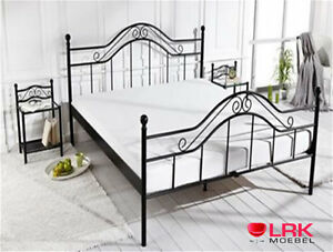 metallbett bett schlafsofa bettgestell bettrahmen metall in 2 farben 3 gr en ebay. Black Bedroom Furniture Sets. Home Design Ideas