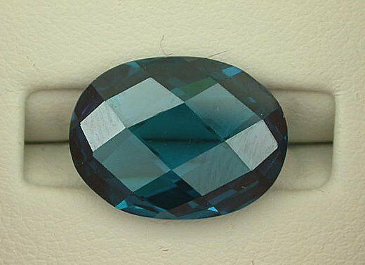 ONE 11x9 Synthetic Double Sided Checkerboard Oval London Blue Topaz Lab Grown