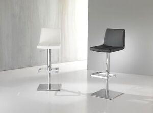 Sgabello moderno metallo cromato lucido imbottito bianco nero ebay