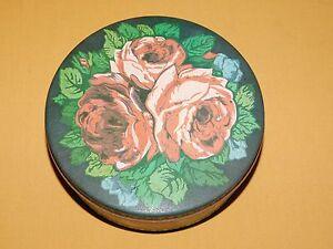 VINTAGE-6-1-2-034-ACROSS-METAL-ROSES-FLOWER-TIN