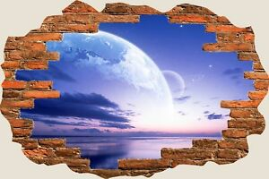 3D-Hole-in-Wall-Morning-Universe-Planet-View-Wall-Stickers-Decal-Mural-814