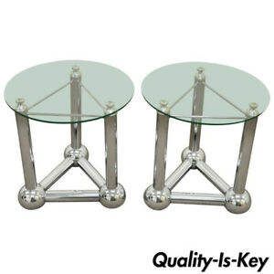 Remarkable Details About Pair Mid Century Modern Chrome Ball Orb Atomic Era Round Glass Side End Tables Download Free Architecture Designs Grimeyleaguecom