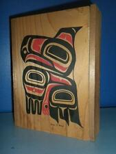 VINTAGE ALASKA STEVEN EVANS SIGNED AMERICAN INUIT ART HAWK TOTEM WOODEN WOOD BOX