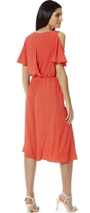 Womens-F-amp-F-Cold-shoulder-Grecian-Wrap-round-Red-Dress-UK-Size-8-Branded-Summer