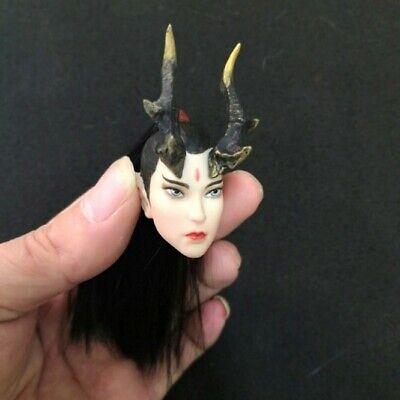 "1//6 Pale Head Sculpt Golden Hair Carved Fit 12/"" Phicen Female Action Figure Toys"
