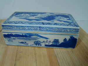 Antique-Chinese-Blue-on-White-Porcelain-Trinket-Box-Signed