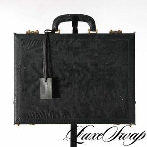 Van-Cleef-amp-Arpels-Lizard-Skin-Black-Gold-Atache-Briefcase-Bag-France-RARE