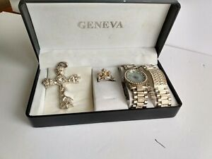 GENEVA-MEN-039-S-RELIGIOUS-WATCH-RING-PENDANT-AND-BRACELET-SET-VINTAGE