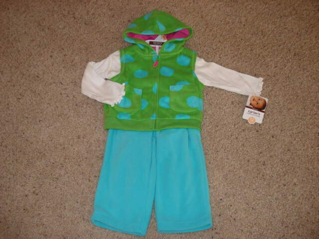 Baby Girls Fleece 3pc Dot Outfit Clothes Set Size 18 Months mos NWOT NEW Carters