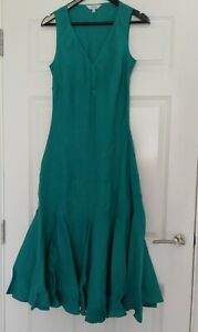 East-Ladies-Green-100-Linen-Fit-Flare-V-Neck-Maxi-Dress-UK-Size-10