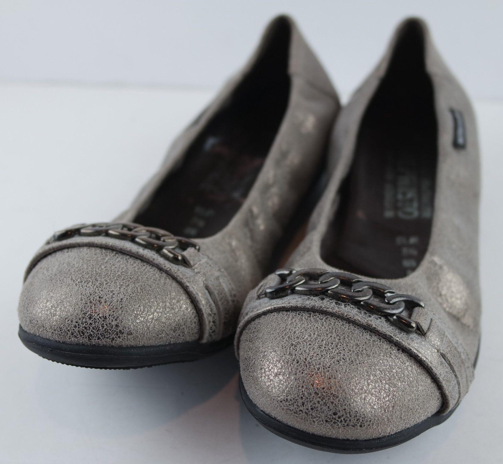 Mephisto Women's Bronze Taupe Leather Ballet Flats Metallic Chain Detail Size 5