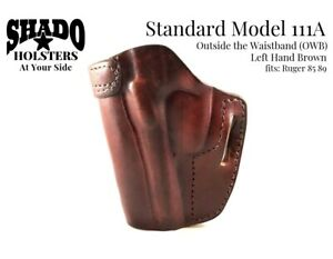SHADO-Leather-Holster-Standard-Model-111A-Left-Hand-Brown-OWB-fits-Ruger-85-89