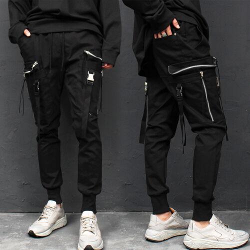 Men/'s Fashion Techwear Buckle Strap Zipper Cargo Pocket Jogger Pants 015,GENTLER