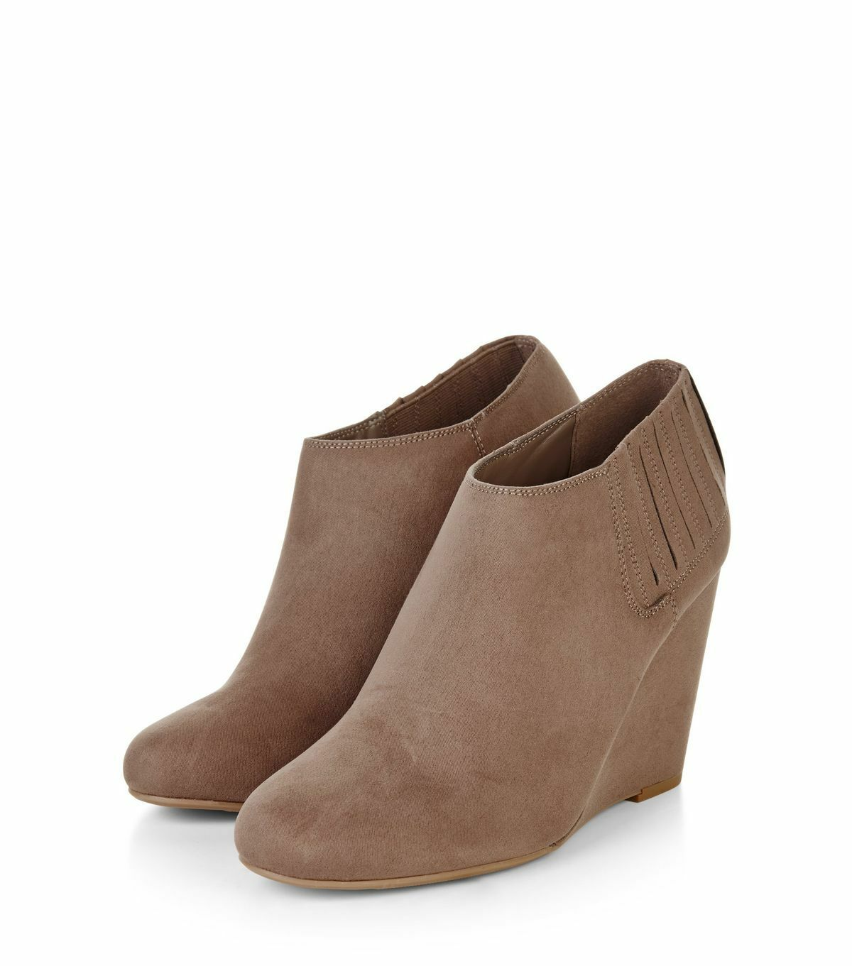 Brand New New Look Size Light Brown Suedette Wedge Shoeboots Size Look 5 aa9699