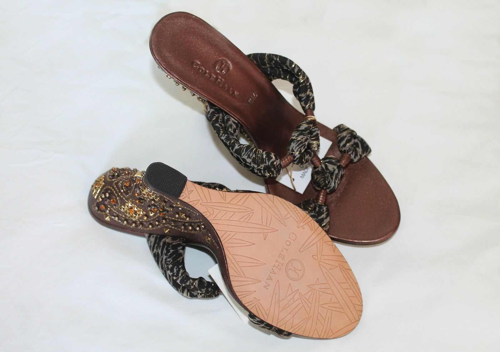 New Without Box Box Box  Cole Haan Embellished Wedge Sandals - Sz 7.5B - b57862