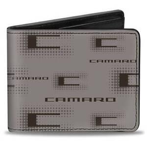 Men Wallet Bifold Chevrolet CAMARO z28 RS SS LS Gray Black Logo Genuine