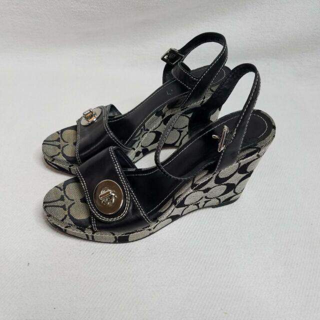 Coach Womens Grey Black Signature Jacquard Rana Platform Wedge Heel Sandal Sz 6
