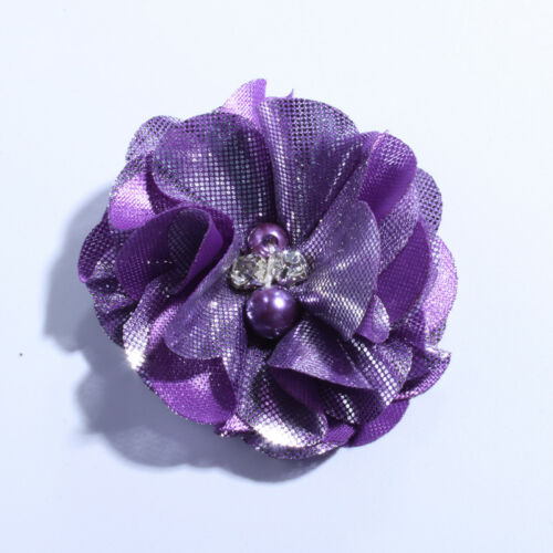 50pcs 5.5cm Metallic Fabric Chiffon Flowers With Pearls For Shoes Apparel