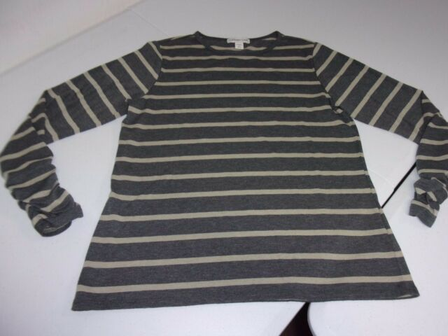Coldwater Creek Medium Gray Striped Long Ruched Sleeve T-Shirt Tee