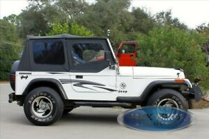 Black-Replacement-Soft-Top-Upper-Doors-Jeep-Wrangler-YJ-88-95